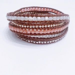 Chan Luu Mixed Beaded And Leather Wrap Bracelet